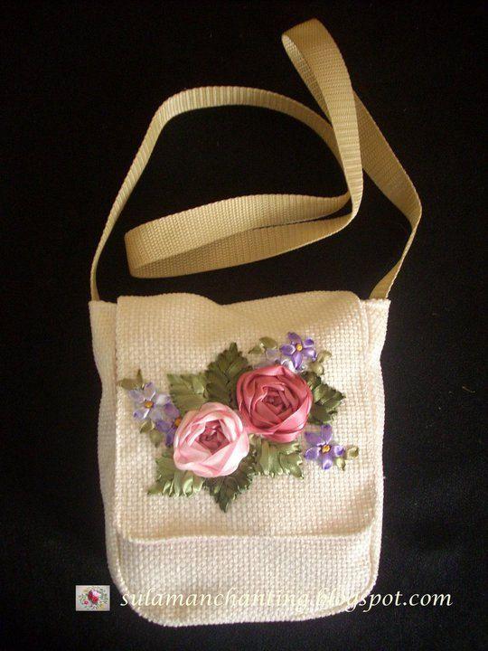 Ribbon Embroidery Purse Beautiful Silk Roses. от SIS2rs на Etsy