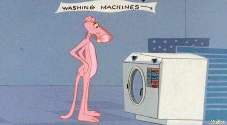 GIF Pink Panther: Pantera Rosa e lavatrice