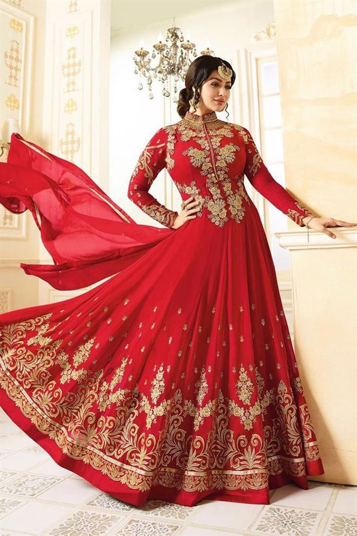 Online Shopping of Ayesha Takia Red Embroidered Function Wear Long Anarkali Suit from SareesBazaar, leading online ethnic clothing store offering latest collection of sarees, salwar suits, lehengas & kurtis