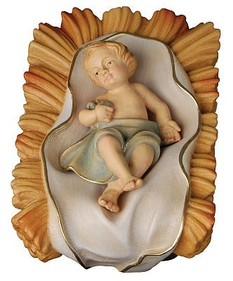 Jesus child, Val Gardena woodcarving, baby Jesus lying in his crib, wooden sculpture made with love and care