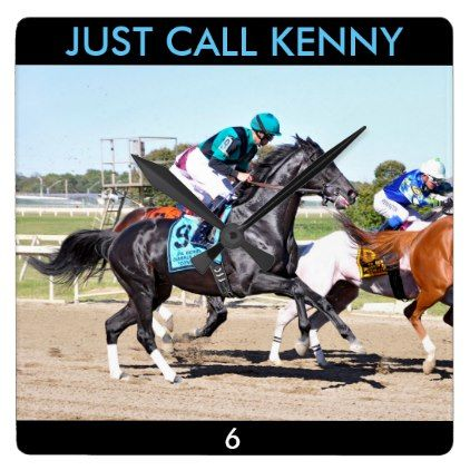 Just Call Kenny Square Wall Clock - horse animal horses riding freedom