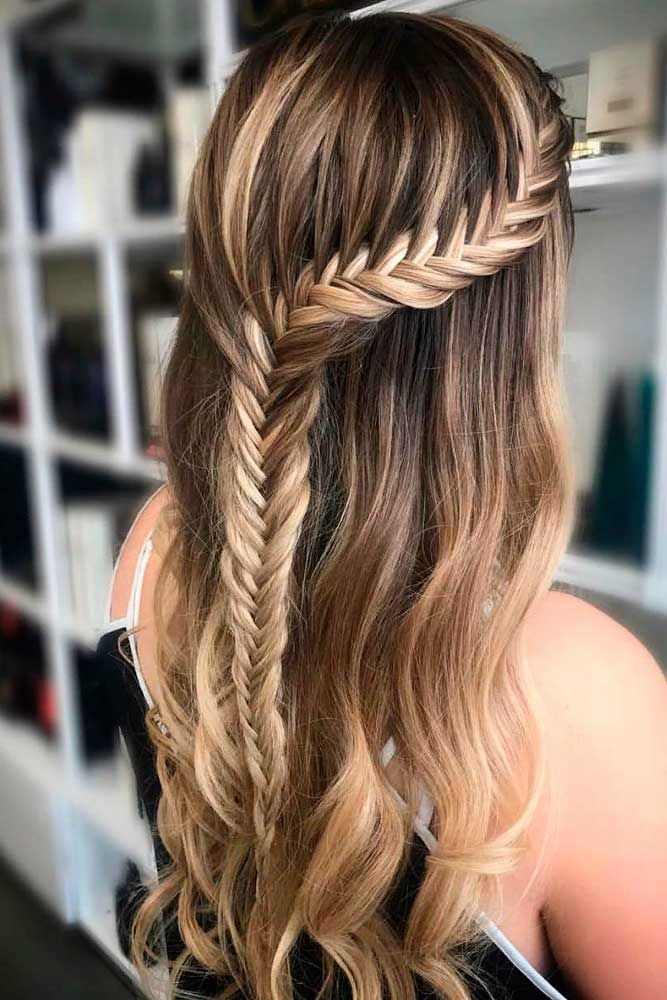Fishtail Braided Half Up #braidedhairstyles #longhairstyles Find at least one reference to match your preferences with our ultimate collection of the ...
