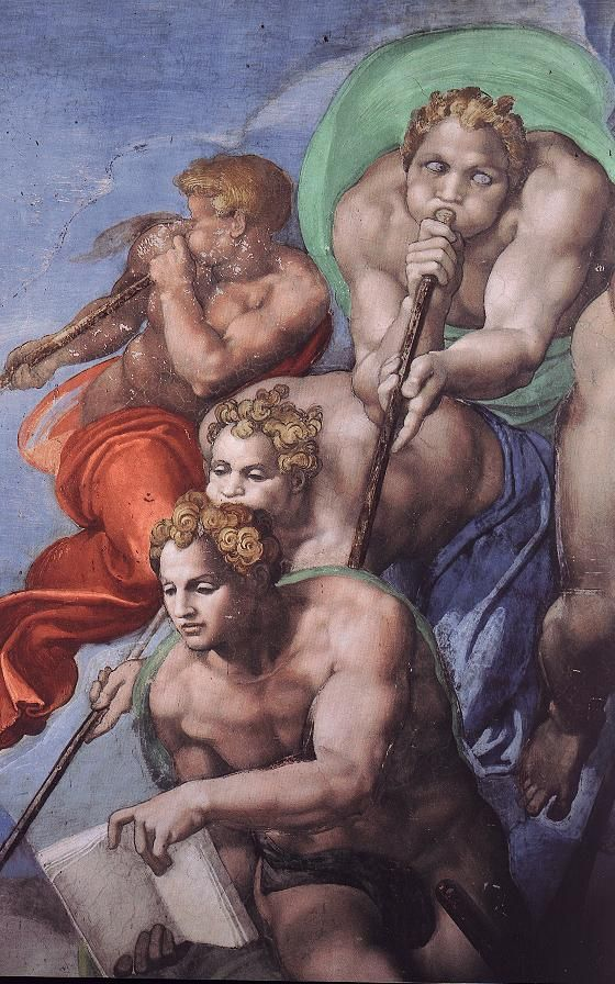 ❤ - MICHELANGELO BUONARROTI - (1475 - 1564) - Sistine Chapel - Last Judgment (detail). ---  I'm pinning this because, seriously, look at the dude blowing the horn.  LOLOLOL