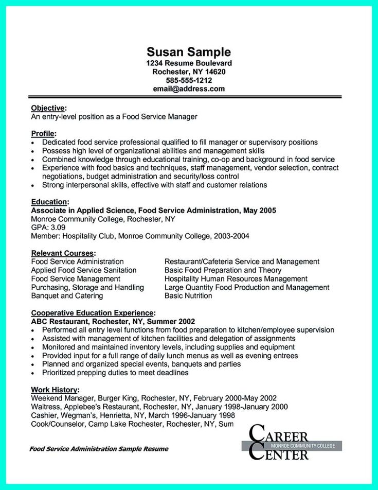 nice Attractive but Simple Catering Manager Resume Tricks