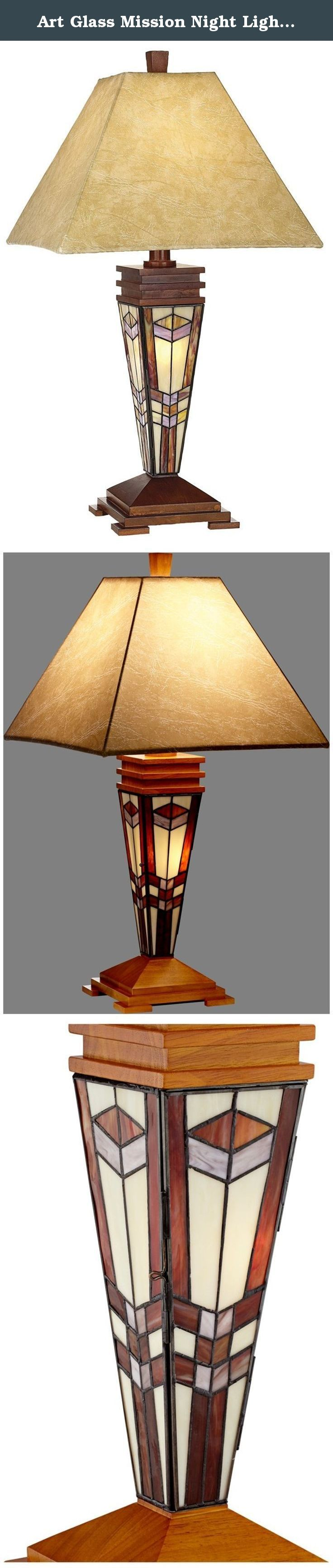 """Art Glass Mission Night Light Table Lamp. Decorate your home with this Tiffany-style table lamp for a timeless look. Has a wood base with a faux leather palace shade. 4-position switch. Tiffany-style art glass. - Art glass Mission style table lamp. - With built-in night light in base behind hand-cut Tiffany style glass. - Takes one 150 watt bulb (not included). - Includes one 7 watt night light bulb. - 30"""" high. - Base with 100 pieces of hand-cut glass. - Glass assembled using traditional..."""