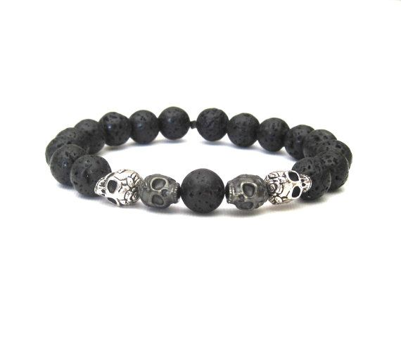 Skull and Black Lava Rock Stretch Stack by SassyBelleWares on Etsy, $30.00