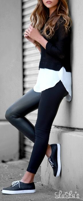Leather look leggings, white shirt and jumper make effortless black and white cool