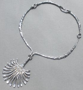 Theresia Hvorslev, for Mema, silver pendant and collar, Sweden, 1971