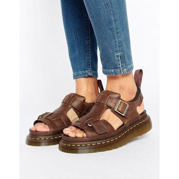 Dr Martens Hayden Grunge Tan Leather T-Bar Flat Sandals ($125) ❤ liked on Polyvore featuring shoes, sandals and tan
