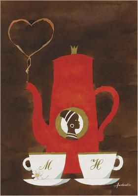 Coffee poster in red poster by Ib Antoni