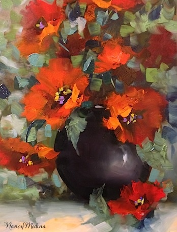 Artists Of Texas Contemporary Paintings and Art - Beguiled Again Red Poppies by Texas Flower Artist Nancy Medina