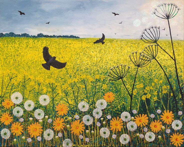 Flying Across Golden Fields - mixed media on a 50 x 40cm standard canvas. Nearly finished just need to seal and varnish.