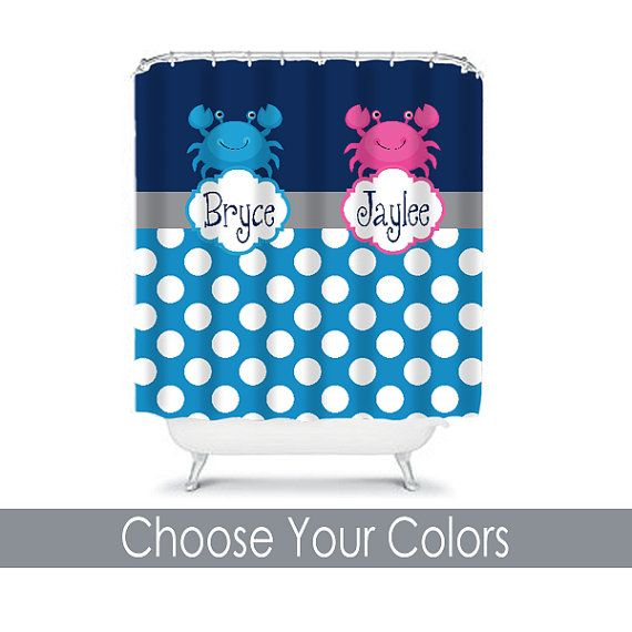Child SHOWER CURTAIN Ocean Monogram Personalized CRAB Navy Blue Hot Pink Brother  Sister Bathroom Beach Towel Plush Bath Mat. 1000  ideas about Boy Girl Bathrooms on Pinterest   Bathroom towel
