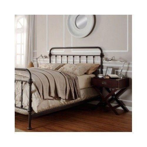 queen metal bed frame headboard footboard wrought iron bedroom furniture antique gardens. Black Bedroom Furniture Sets. Home Design Ideas