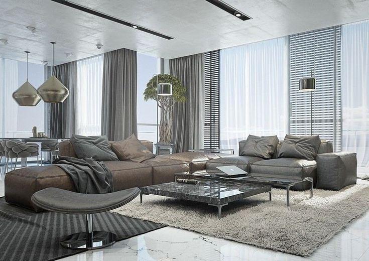 Stilvolles Wohnzimmer mit weißem Marmorboden