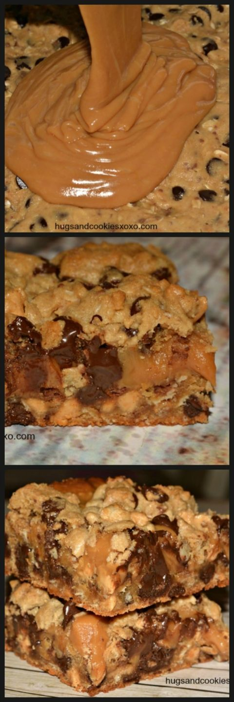 Toffee, peanut butter, chocolate chip oat bars