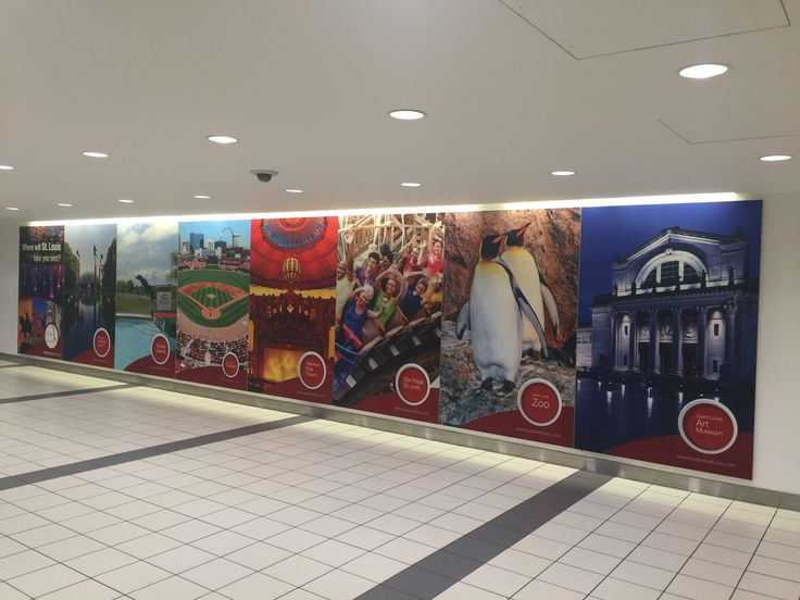 Airport graphics display featuring easy to apply DigiScape® Stick-R