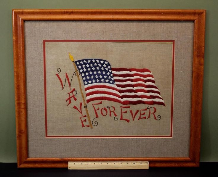 Antique Early 20thC Americana Folk Art Embroidery Patriotic Motto, 48 Star Flag