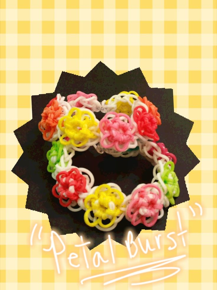 """New """"Petal Burst"""" Rainbow Loom Bracelet How to Video Tutorial.  Time consuming - set aside enough time.   Easier using 2 looms, but can still be done on one."""