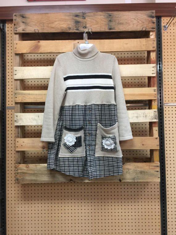 Upcycled Pullover Kleid, Turtle Neck Pullover Tunika, schäbige Hütte schicke karierte Flanell Hemd Tunika-Kleid