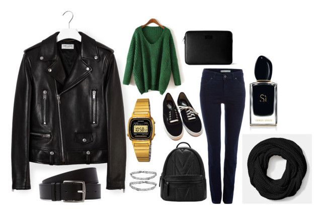 """My look"" by dobrayaprosto ❤ liked on Polyvore featuring Yves Saint Laurent, Topshop, Coach, Oui, Vans, Monki, Armani Beauty and Hermès"