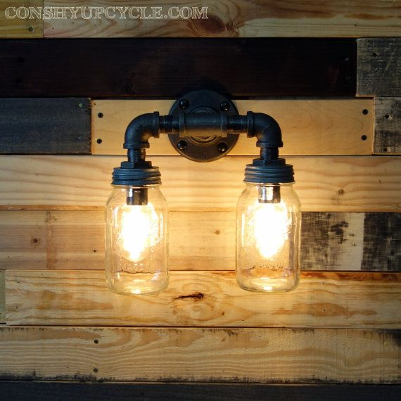 clear 1 quart mason jar wall sconce light black iron industrial steampunk style jars. Black Bedroom Furniture Sets. Home Design Ideas