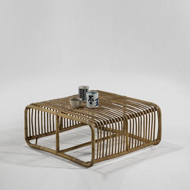 Vintage design | Joseph-André Motte; Rattan Ottoman/Occasional Table, 1963. #vintagecoffeetable vintage design ideas #vintagelivingroom decorating ideas #coffeetabledesign living room design. See more at www.coffeeandsidetables.com