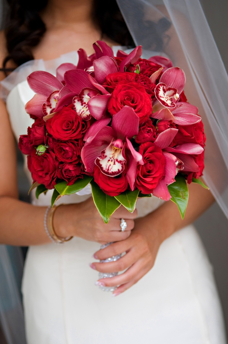 Красные орхидея свадебный букет, сделать букет сердце