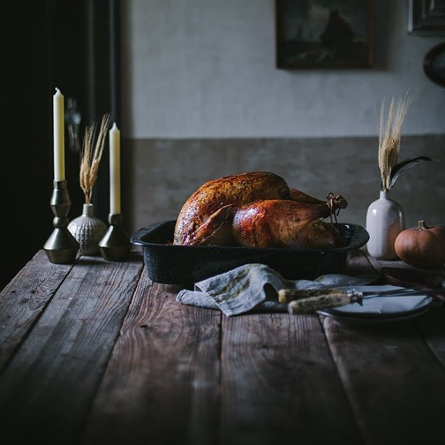 Have your #Thanksgiving turkey recipe? This Herb Brined Roast Turkey with Sweet Potato Pork Belly Stuffing by @evakosmasflores is sure to please. Click link in bio for recipe!