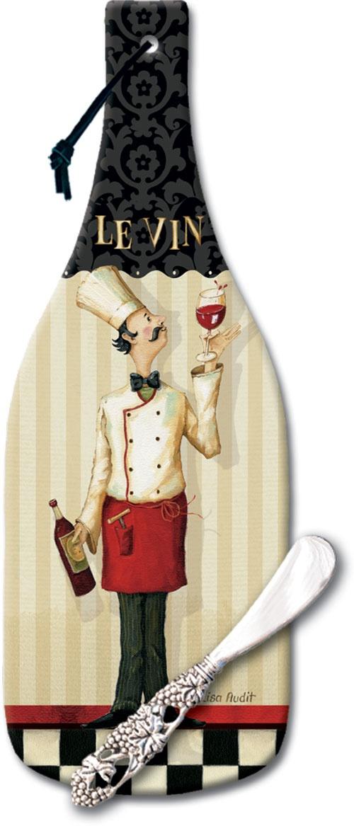 `Glass Cheese Cuttingboard & Spreader-Chef Masterpiece