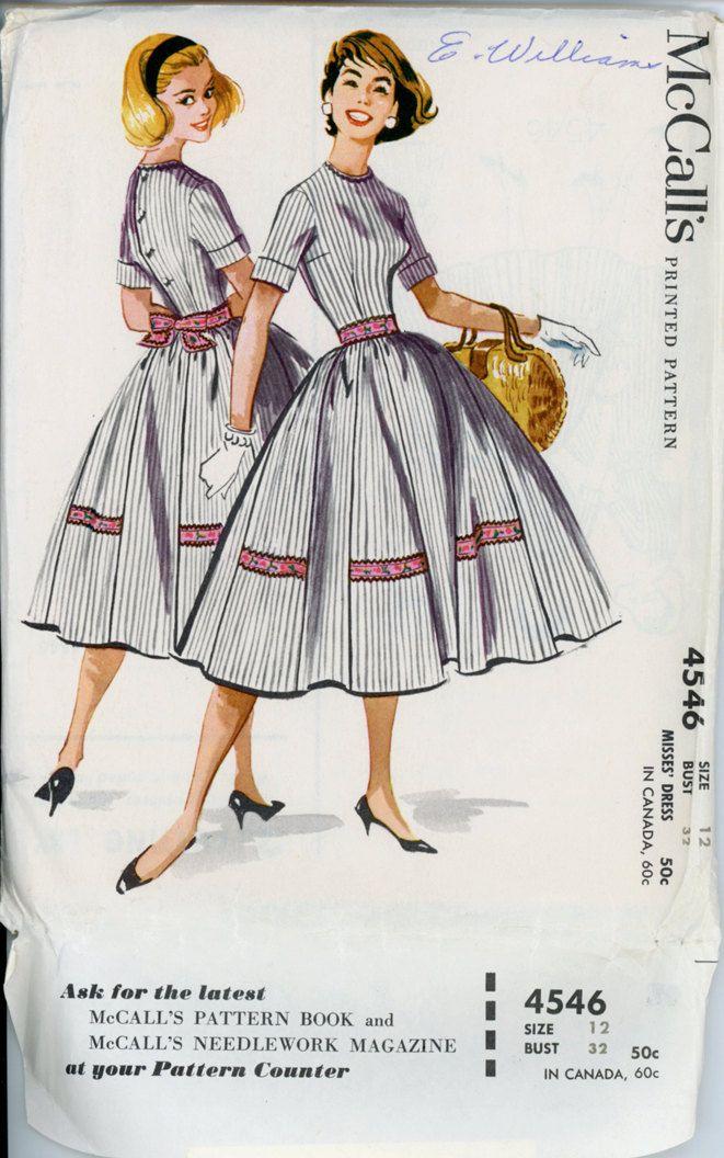 McCalls 4546 Misses 1950s Dress Pattern Full Skirt Rockabilly Day Dress Short Cuffed Sleeves Womens Vintage Sewing Pattern Bust 32 UNCUT. $14.00, via Etsy.