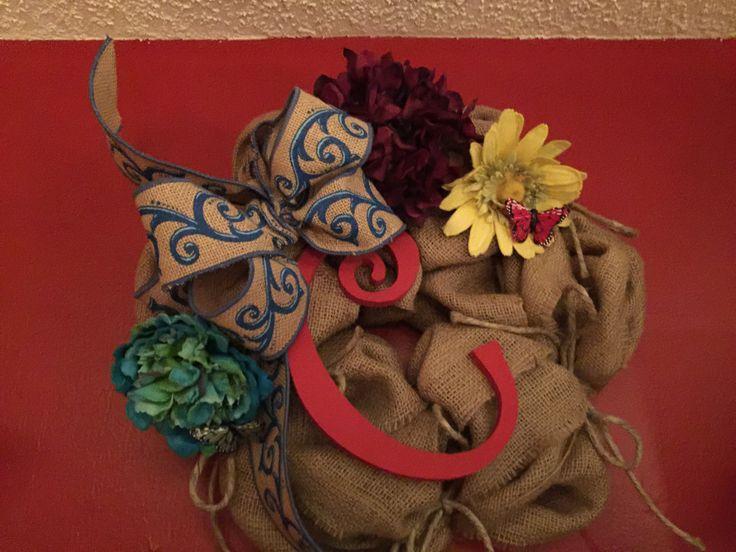 Burlap Initial Wreath by SasyStuff on Etsy https://www.etsy.com/listing/263462958/burlap-initial-wreath
