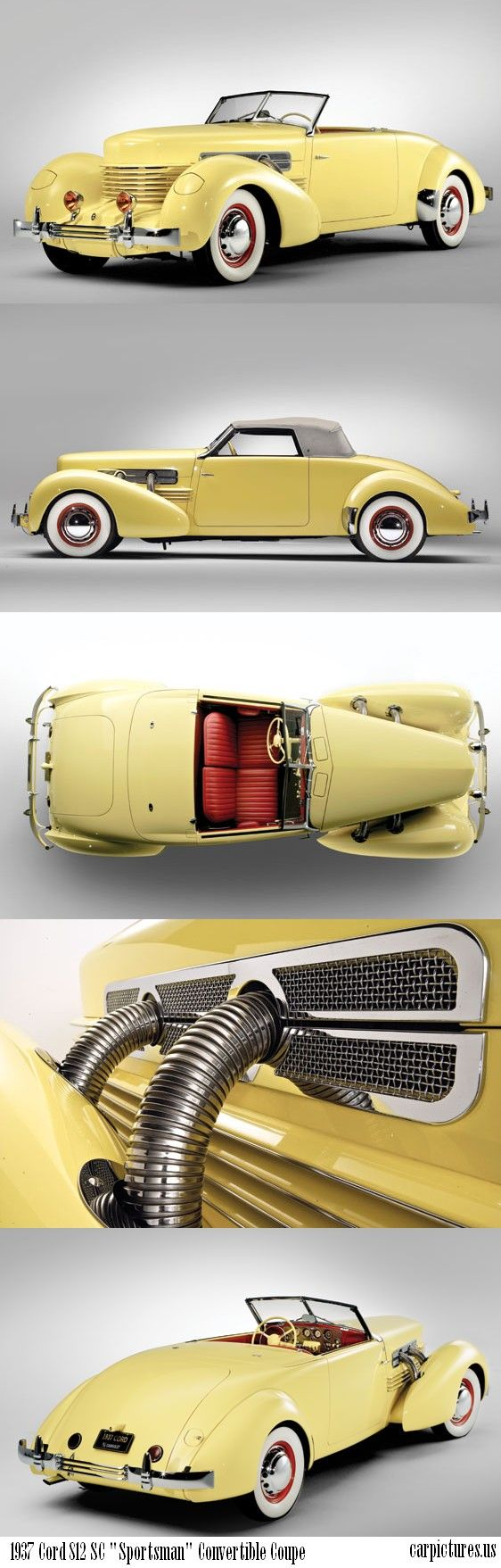 "1937 Cord 812 SC ""Sportsman"" Convertible Coupe. The 'coffin nose' Cord was the first American front wheel drive car."