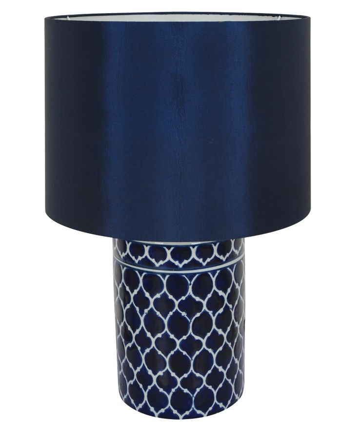Madras 1 Light Round Table Lamp in Blue | Main bedroom ...