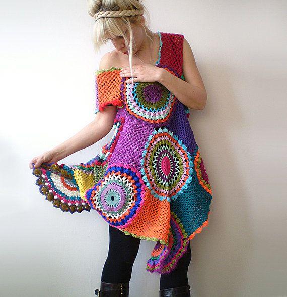 Crochet Retro Dress/Tunic by subrosa123 on Etsy  Just stunning!