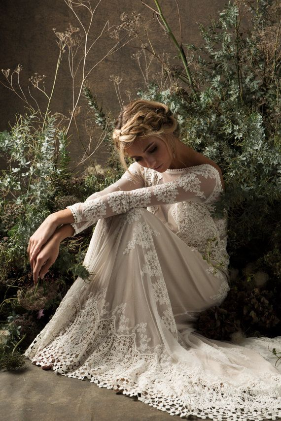 Aurora Lace Bohemian Wedding Dress | Long Sleeves and Open Back Backless Wedding Gown | Cotton Crochet Lace Boho Dress