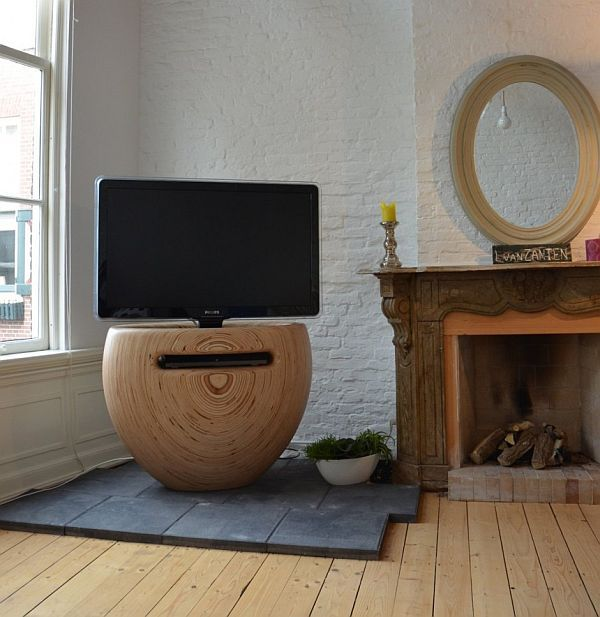 Unique Shaped Wooden Tv Stand By Leon Van Zanten