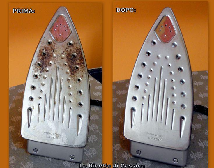 prima e dopo pulizia ferro da stiro caldaia