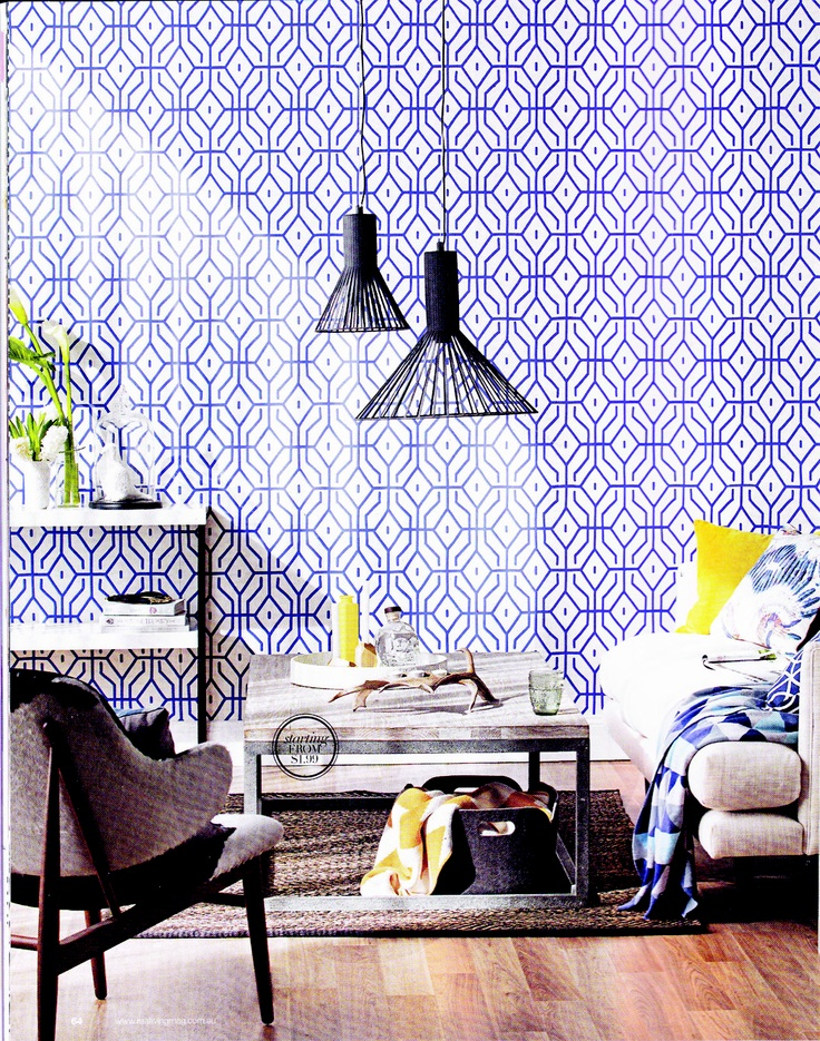 Zigzag Throw, Dwell Navy Cushion, White Parker Tray, Spiro Wallpaper, Via Real  Living Magazine Part 77
