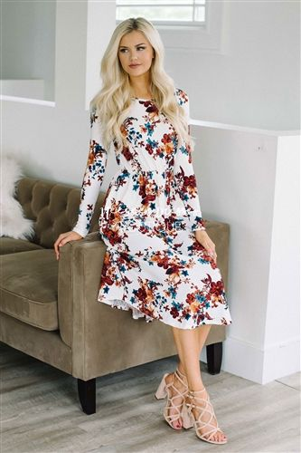 White Copper Teal Floral Long Sleeve Dress   Best Place To Buy Modest Dress Online   Modest Dresses and Modest Clothes