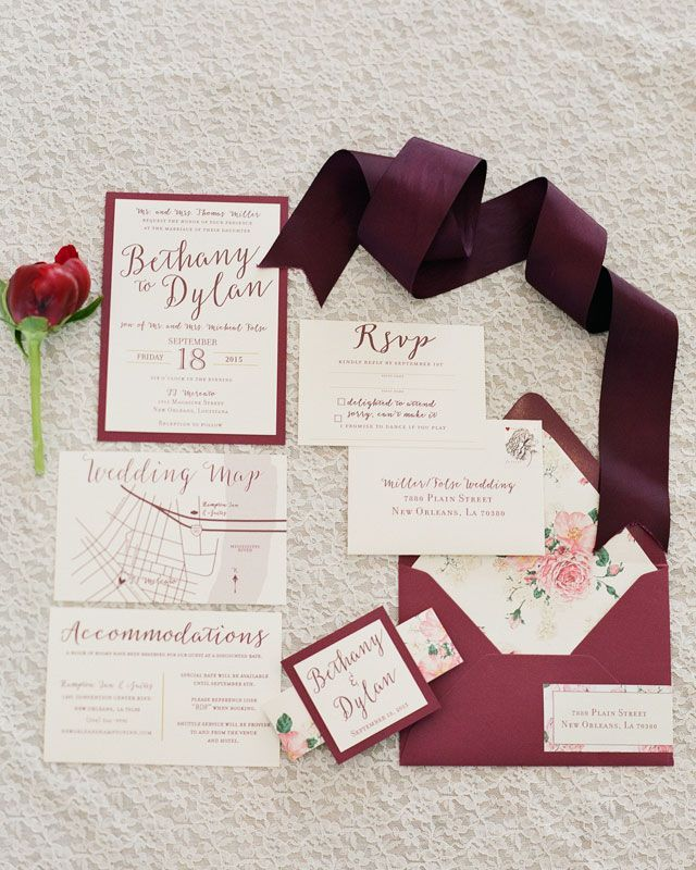 Wedding invitations: A marsala wedding inspiration shoot in New Orleans with bohemian flair | Brocato Photography