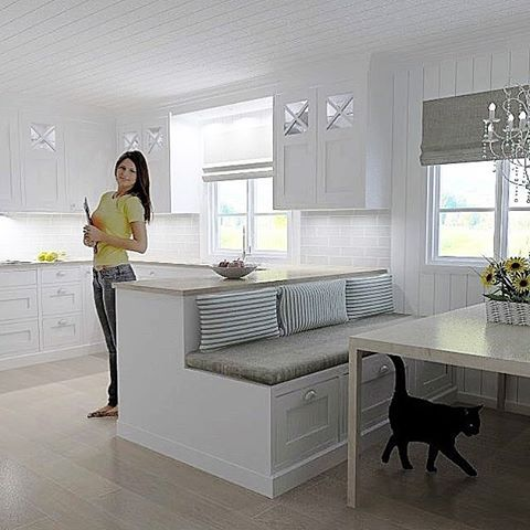 I'll take this Scandi kitchen any day...you can include the kitty too!
