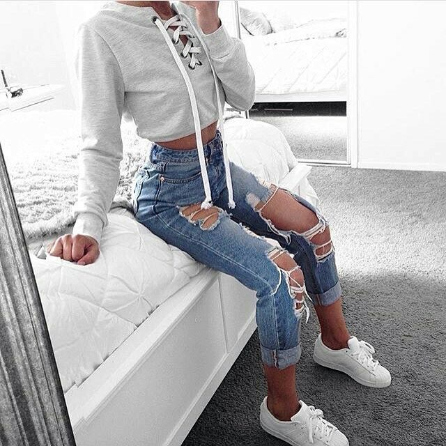 200++Cute+Ripped+Jeans+Outfits+For+Winter+2017