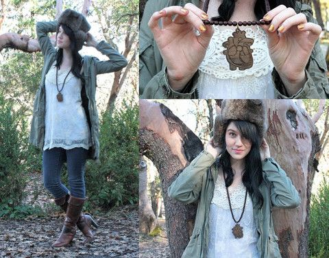 N/A Faux Fur Military Cap, G Star Raw Trench Coat, Lace Kelsie Blouse, Good Wood Nyc Necklace, Blank Denim, Matisse Pirate Boots