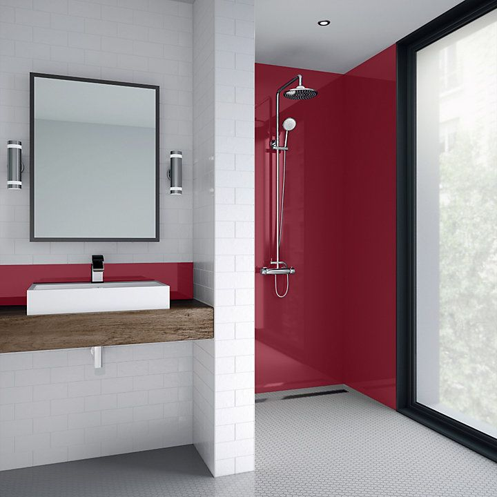 Splashwall Rose Single Shower Panel L 2440mm W 600mm T 4mm Shower Panels Shower Wall Kits Bathroom Paneling