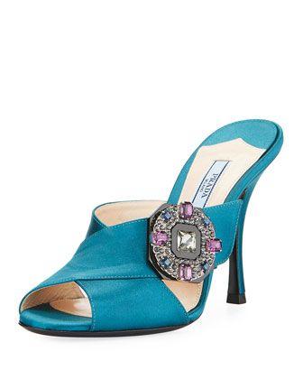 d73e0b15e Jeweled+Satin+100mm+Slide+Sandal+by+Prada+at+Bergdorf+Goodman ...