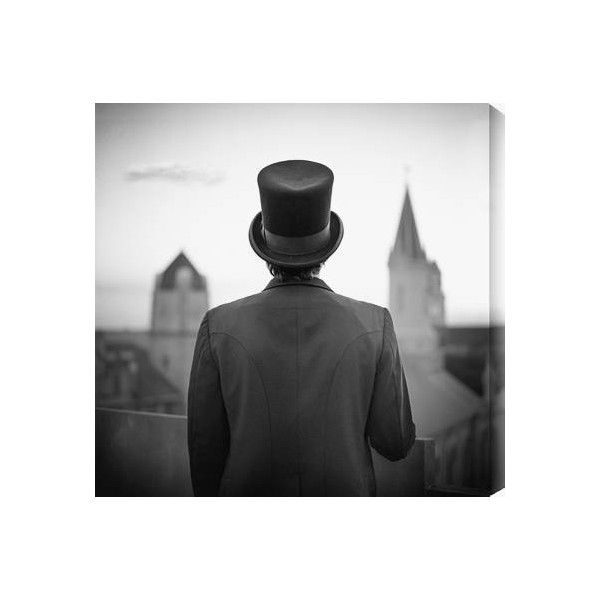 Top Hat - Black and White Photography Art Print by Eddie O'Bryan -... ❤ liked on Polyvore featuring accessories, hats, people, men, black white hat, pattern hats, black and white top hat, black and white hat and white and black hat