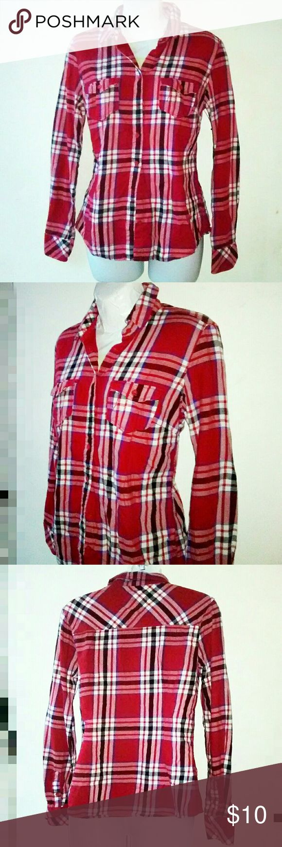 Aeropostale Red Plaid Shirt Red plaid button down shirt 100% cotton 2 breast pockets Excellent brand new condition 66 Aeropostale Tops Button Down Shirts