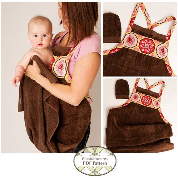 Sewing pattern for a great baby shower gift -- a baby bath apron towel! Makes it much easier getting those slippery babies out of the bath... I seriously wish I had had one of these! Such a great idea!