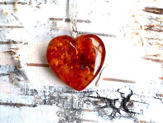 Cognac Baltic Amber Heart Necklace Heart Pendant Amber #balticambernecklace #ambernecklace #amberpendant #balticamberheart #amberheart #balticamberjewelry #amberjewelry #amberjewelry #balticambernecklace